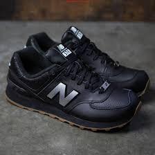 closeout ml574leb crazy new balance 574 leather ml574leb black silver womens shoes 5b644 29f1e