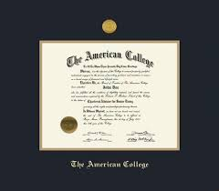 custom diploma frames certificate frames framing success  the american college certificate measures 13h x 17w frame medallion and black and gold double mat and gold embossing