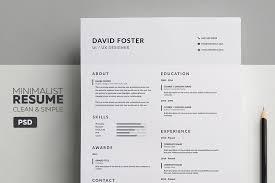 Minimalist ResumeCV David Resume Templates Creative Market Pro Classy Minimalist Resume