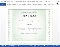 diploma word template free elementary school diploma template for word