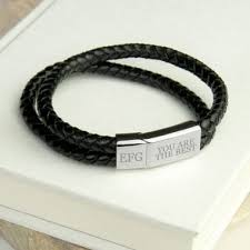 personalised men s dual leather bracelet