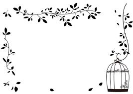 葉っぱと鳥かごのフレーム 無料イラスト素材素材ラボ