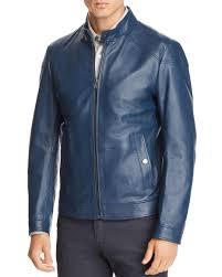 boss men s blue nocan leather jacket