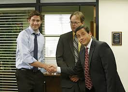 the office the meeting. Photo Courtesy Of NBC.comJim (John Krasinski) And Michael (Steve Carell) Work Out A Promotion In Agreement With Corporate As Dwight (Rainn Wilson)dreads The Office Meeting
