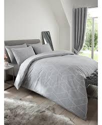 metro geometric diamond single duvet cover set grey