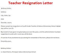 teacher resignation letter sample format pictures