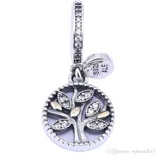 2019 14k gold plated leaf clear cz bead 925 sterling silver family tree dangle pendant charms for diy brand bracelets jewelry accessories from wjhwm2017