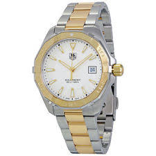 mens tag heuer watch two tone tag heuer aquaracer silver dial two tone men s watch way1120 bb0930