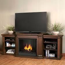 a console ventless gel fuel fireplace in chestnut oak