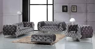 Tufted Living Room Set Meridian Furniture Mercer 4pcs Modern Tufted Grey Velvet Sofa