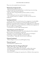 Bad Resume Examples Resume For Your Job Application