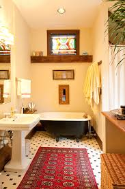 stained glass designs bathroom victorian with freestanding tub black bathtub red rug