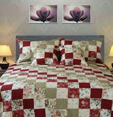 Tache 3-5 Piece Cotton Red Country Cottage Patchwork Quilt Set ... & Quilt - Tache 3-5 Piece 100% Cotton Red Country Cottage Patchwork Quilt Set Adamdwight.com