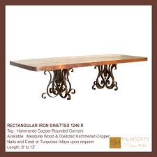 Copper Top Kitchen Table Dining Rectangular Table Iron Pedestal Chocolate Finish Copper Top