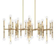meurice rectangle brass chandelier  modern chandeliers  jonathan