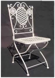 chair white wrought iron folding total stock 4