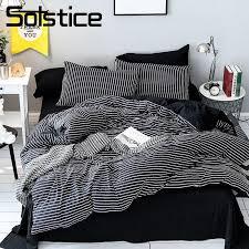 solstice home textile black white stripe bedding set girl teen boys bedclothes duvet cover pillowcase bed sheet king twin 3 duvet cover set girls comforter