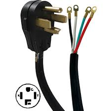 30 amp, 4 wire right angle plug dryer cord kit 4' length az 30 Amp 250 Volt Outlet 30 amp, 4 wire right angle plug dryer cord kit