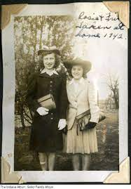 """Rosie Sokol and Frances """"Fritz"""" Dolenski, Anderson, Indiana, 1942 - The  photo reads """"Rosie & Fritz, Taken at home, 1942."""" The Sokol family lived at  3610 Clark Street (that house no longer"""