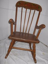 vintage childs rocking chair painted black gold fruit