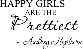 Happy Girls Are The Prettiest Audrey Hepburn Vinyl Wall Art Inspirational Quotes And Saying Home Decor Decal Sticker