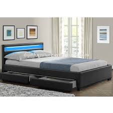 Double King Size Bed Frame With 4 Drawers Storage Led Headboard ...