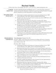sample resume for insurance agent