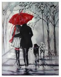 hand painted rainy street landscape with dogs oil painting black and white paintings with red