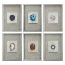 uttermost agate stone silver wall art set of 6 on framed 10 silver squares wall art with 6 piece wall art hayneedle