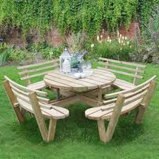 hartwood circular picnic table with seat backs 4 images