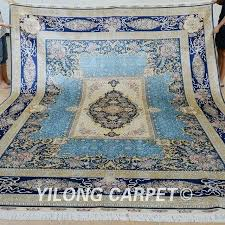 classic design blue oriental rug handmade silk carpet turkish gold
