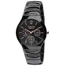 accurist men s black ceramic bracelet chronograph watch h samuel accurist men s black ceramic bracelet chronograph watch product number 9230955