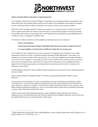 Safety Orientation Checklist Northwest Community College