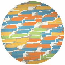 new azzura hill wool round area rug 8 feet white yellow blue green orange modern