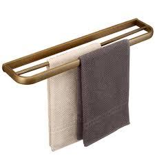 hiendure antique brass bathroom double towel bar bath wall shelf hanging rack towel dual hanger 22