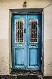 door old traditional wooden blue