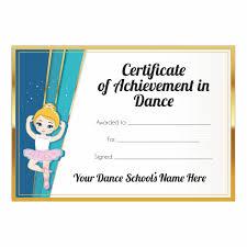 Achievement Certificate Certificate Of Achievement In Dance