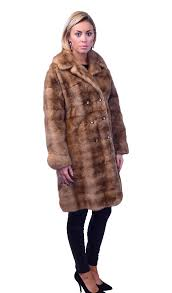 demi buff mink coat with horizontal sections