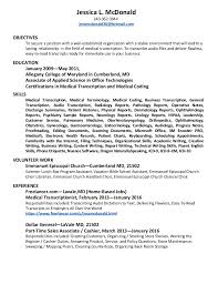 Medical Transcriptionist Resume.