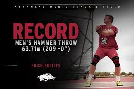"""Arkansas Track & Field on Twitter: """"Erich Sullins extended his own school  record with a toss of 63.71m (209'-0"""") in the hammer throw at the  #ArkansasTwilight #WPS🐗… https://t.co/XzK8E7hlkT"""""""