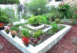 concrete block garden cinder patio furniture ideas incredible landscaping blocks bed