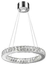galaxy 11 light led chrome finish clear crystal circular ring chandelier medium