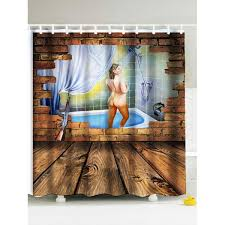brown fabric shower curtains. 3D Shower Woman Water Repellent Fabric Curtain - BROWN 180*180CM Brown Curtains E