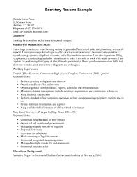 Resume Templates Secretary For Breathtaking Examples Free Objective
