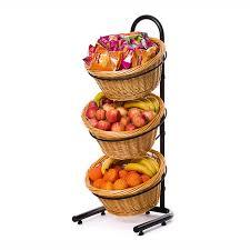 Fruit Display Basket Stand Display Rack Wicker Basket Fruit Rack 100 Tier Fruit Stand 2