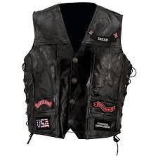 diamond plate gfvbik142x diamond plate rock pattern black buffalo leather vest with patches size 2x