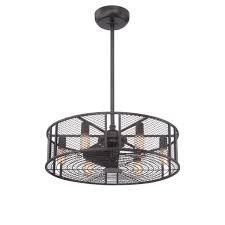world imports boyd collection led indoor oil rubbed bronze caged ceiling fan with light remote control