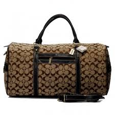 Coach Logo In Signature Large Camel Luggage Bags BJE