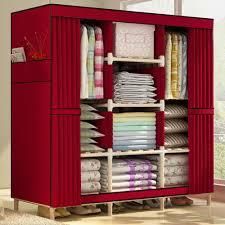 hhaini super large clothes closet organizer storage rack wooden wardrobe portable home garment hanger double rods for long hanging space clothes closet