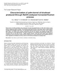 characterization of palm kernel oil biodiesel produced through  characterization of palm kernel oil biodiesel produced through naoh catalyzed transesterification process pdf available